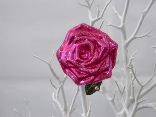 Large Pink Glass Rose - Clip on